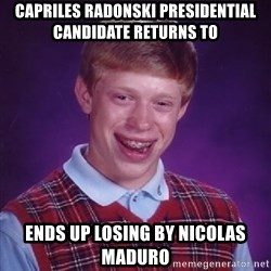 Bad Luck Brian - capriles radonski presidential candidate returns to ends up losing by nicolas maduro
