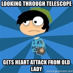 Poptropican - looking through telescope gets heart attack from old lady