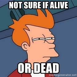 Futurama Fry - not sure if alive or dead