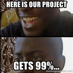 disappointed black guy - here is our project gets 99%...