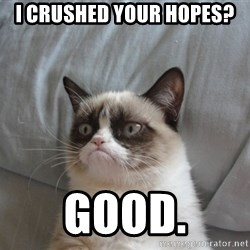Grumpy cat 5 - I crushed your hopes? good.