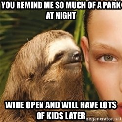 The Rape Sloth - you remind me so much of a park at night wide open and will have lots of kids later