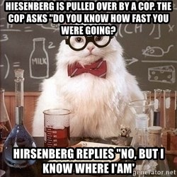 "Chemistry Cat - Hiesenberg is pulled over by a cop. The cop asks ""do you know how fast you were going? hirsenberg replies ""no, but i know where i'am'"