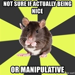 Survivor Rat - not sure if actually being nice or manipulative