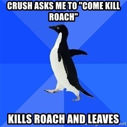 "Socially Awkward Penguin - crush asks me to ""come kill roach"" kills roach and leaves"