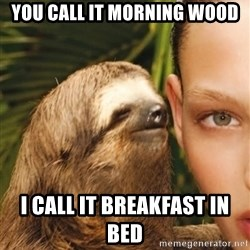 The Rape Sloth - You call it morning wood I call it breakfast in bed