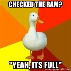 "Technologically Impaired Duck - checked the ram? ""Yeah, its full"""