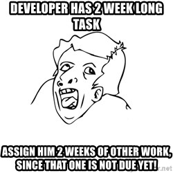 genius rage meme - developer has 2 week long task assign him 2 weeks of other work, since that one is not due yet!