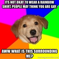 Advice Dog - its not okay to wear a rainbow shirt, people may think you are gay. aww what is this surrounding me?