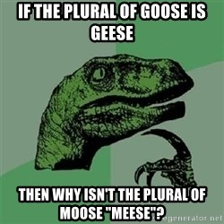 """Velociraptor Xd - If the plural of goose is geese then why isn't the plural of moose """"meese""""?"""