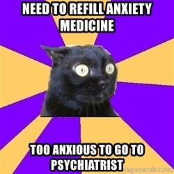 Anxiety Cat - Need to refill anxiety medicine Too anxious to go to psychiatrist