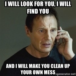 taken meme - i will look for you, i will find you and i will make you clean up your own mess