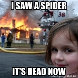 Disaster Girl - I saw a spider it's dead now