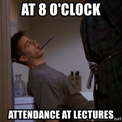 Bored sleeping Joey - at 8 o'clock attendance at lectures