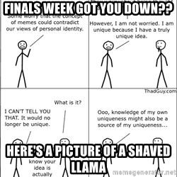 Memes - Finals week got you down?? Here's a picture of a shaved llama