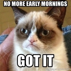 Grumpy Cat  - No more early mornings  got it
