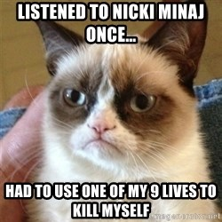 Grumpy Cat  - listened to nicki minaj once... had to use one of my 9 lives to kill myself