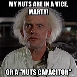 "Back To The Future Doctor - MY nuts are in a vice, Marty! Or a ""nuts capacitor"""