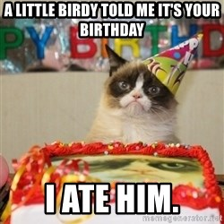 Grumpy Cat Birthday hat - A LITTLE BIRDY TOLD ME IT'S YOUR BIRTHDAY I ATE HIM.