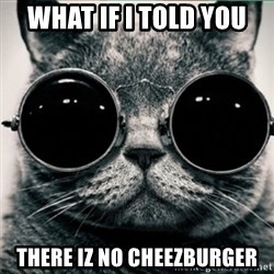 Morpheus Cat - WHAT IF I TOLD YOU THERE IZ NO CHEEZBURGER