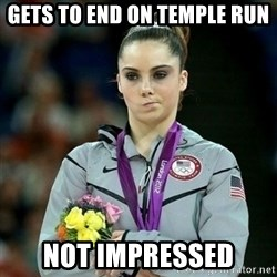 McKayla Maroney Not Impressed - gets to end on temple run not impressed