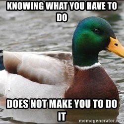 Actual Advice Mallard 1 - Knowıng what you have to do Does not make you to do ıt
