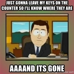 aaaand its gone - Just gonna leave my keys on the counter so i'll know where they are aaaand its gone
