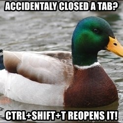 Actual Advice Mallard 1 - accidentaly closed a tab? ctrl+shift+t reopens it!