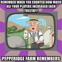 Pepperidge Farm Remembers FG - remember when you counted how much asi your players increased each tuestay? pepperidge farm remembers