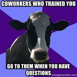 Coworker Cow - Coworkers who trained you go to them when you have questions