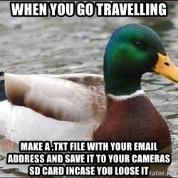 Actual Advice Mallard 1 - when you go travelling make a .txt file with your email address and save it to your cameras SD card incase you loose it