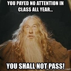 You shall not pass - YOU PAYED NO ATTENTION IN CLASS ALL YEAR… YOU SHALL NOT PASS!
