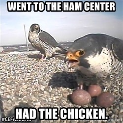 #CEFalcons - Went to the ham Center Had the chicken.