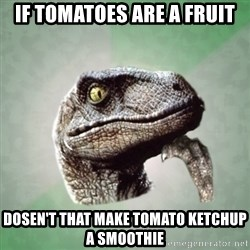 Philosoraptor - if tomatoes are a fruit dosen't that make tomato ketchup a smoothie