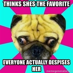 Perplexed Pug - thinks shes the favorite everyone actually despises her