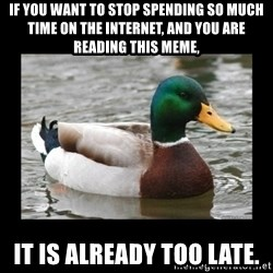 advice mallard - If you want to stop spending so much time on the internet, and you are reading this meme, It is already too late.