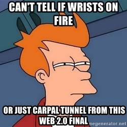 Futurama Fry - Can't tell if wrists on fire  or just carpal tunnel from this Web 2.0 Final