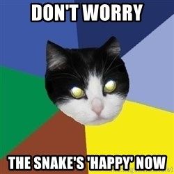 Winnipeg Cat - don't worry the snake's 'happy' now