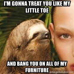 Dirty Sloth - I'm gonna treat You like my little toe And bang you on all of my furniture
