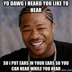 Yo Dawg - Yo dawg i heard you like to hear so i put ears in your ears so you can hear while you hear