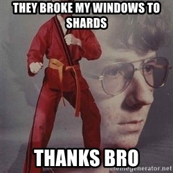 PTSD Karate Kyle - they broke my windows to shards thanks bro