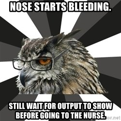 ITCS Owl - Nose starts bleeding. STILL WAIT FOR OUTPUT TO SHOW BEFORE GOING TO THE NURSE.