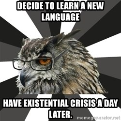 ITCS Owl - Decide to learn a new language have existential crisis a day later.