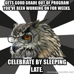 ITCS Owl - gets good grade out of program you've been working on for weeks. celebrate by sleeping late.