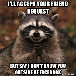 evil raccoon - I'll accept your Friend request but say I don't know you outside of Facebook