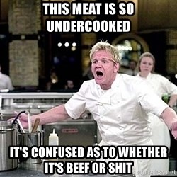 chef ramsay chuck norris - This meat is so undercooked it's confused as to whether it's beef or shit