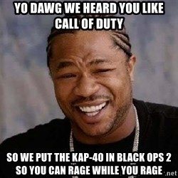 Yo Dawg - Yo dawg we heard you like call of duty so we put the kap-40 in black ops 2 so you can rage while you rage