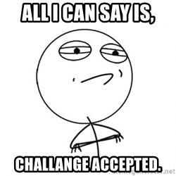 Challenge Accepted - All I can say is, Challange accepted.