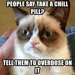 Grumpy Cat  - people say take a chill pill? tell them to overdose on it