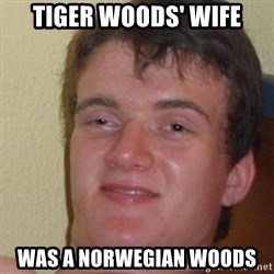 really high guy - tiger woods' wife was a norwegian woods
